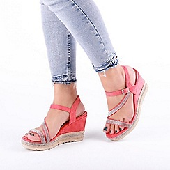 Pink by Paradox London - 'Yoki' High Heel Wedge Ankle Strap Sandals