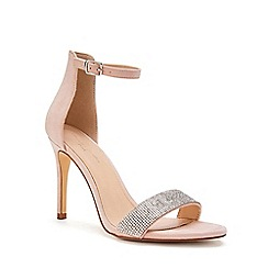Pink by Paradox London - Cream Micro Suede 'Vista' High Heel Stiletto Ankle Strap Sandals