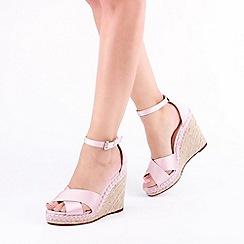 Pink by Paradox London - Pink Satin 'Yolanda' High Heel Wedge Espadrille
