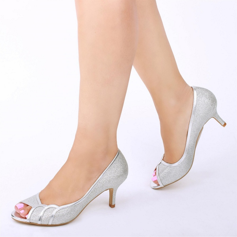 Pink by Paradox London - Silver Glitter Gracia Mid Heel Wide