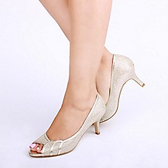 Pink by Paradox London - Gold Glitter 'Gracia' Mid Heel Wide Fit Peep Toe Shoes