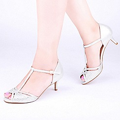 Pink by Paradox London - Ivory Satin 'Laili' Kitten Heel Wide Fit T-Bar Sandals