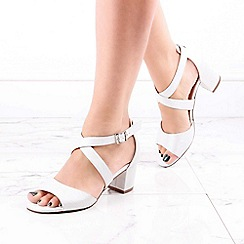 Pink by Paradox London - Silver Shimmer 'Hadid' Mid Block Heel Wide Fit Sandals