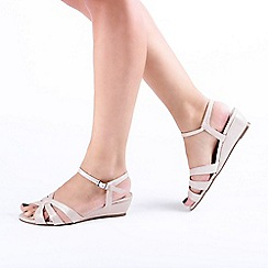 Pink by Paradox London - Cream 'Jackie' Low Wedge Wide Fit Sandals