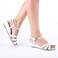 Pink by Paradox London - White 'Jackie' Low Wedge Wide Fit Sandals