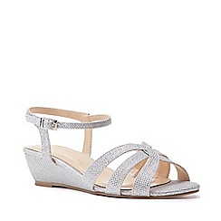 Pink by Paradox London - Silver 'Jackie' Low Wedge Wide Fit Sandals