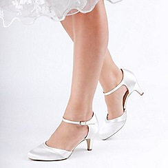 Pink by Paradox London - Ivory Dyeable Satin 'Augustine' Mid Heel Ankle Strap Court Shoes