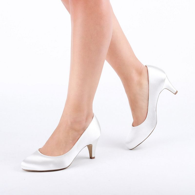 Pink by Paradox London - Ivory Dyeable Satin Astra Wide Fit Mid Heel Court Shoes