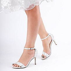 Pink by Paradox London - Ivory Satin 'Hampton' High Heel Ankle Strap Sandals