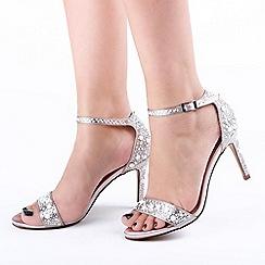 Pink by Paradox London - Cream Satin 'Hampton' High Heel Ankle Strap Sandals