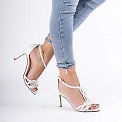 Pink by Paradox London - White 'Hilton' High Heel T-Bar Sandals