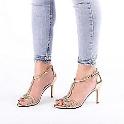 Pink by Paradox London - Gold 'Hilton' High Heel T-Bar Sandals