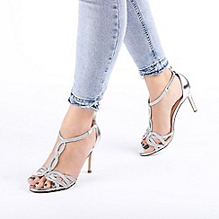 Pink by Paradox London - Silver 'Hilton' High Heel T-Bar Sandals