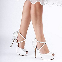 Pink by Paradox London - Ivory Satin 'Hallun' High Heel Peep Toe Platform Shoes