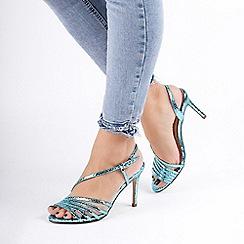 Pink by Paradox London - Blue Metallic 'Hailey' High Heel Stiletto Heel Sandals