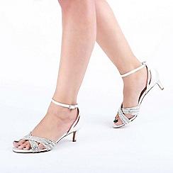 Pink by Paradox London - Ivory Glitter 'Sabrina' Mid Heel Stiletto Sandals