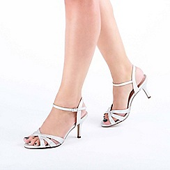 bda8b039db Pink by Paradox London - Silver Shimmer 'Hero' Wide Fit Mid Heel Ankle Strap