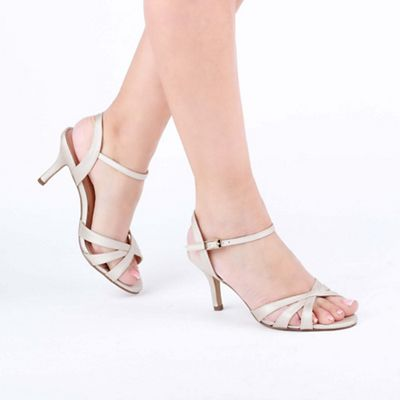 82deb7c685f9 Pink by Paradox London - Gold Shimmer  Hero  Wide Fit Mid Heel Ankle Strap  Sandals