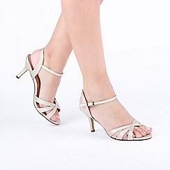 7e80dc97d55 Pink by Paradox London - Gold Shimmer  Hero  Wide Fit Mid Heel Ankle Strap
