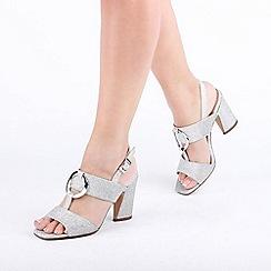 Pink by Paradox London - Silver 'Harding' High Heel Block Heel T-Bar Sandals