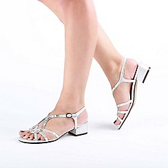 Pink by Paradox London - Silver 'Ritaa' Mid Heel Block Heel T-Bar Sandals