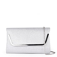 Pink by Paradox London - Silver Glitter 'Denise' Clutch Bag