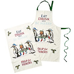 Help for Heroes - Eat Drink and Be Merry -  Tea Towel and Apron Set