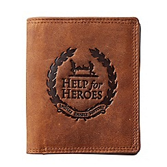 Help for Heroes - Brown leather tri-fold wallet with crest