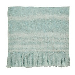 Sanderson - Green wool mix 'Delphiniums' blanket