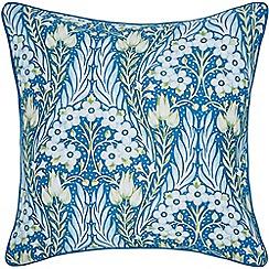 V & A - Blue cotton sateen 'Alyssum' cushion