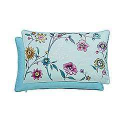 V & A - Aqua cotton sateen 'Botanica' cushion
