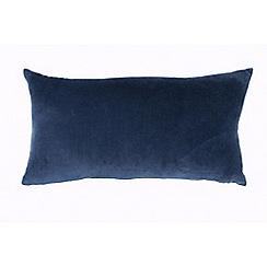 DKNY - Dark blue cotton velvet 'Camo Floral' boudoir cushion