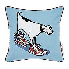 Little Sanderson - Kids' blue 'Dogs in Clogs' cushion
