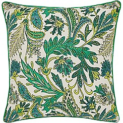 Helena Springfield - Bright green cotton half panama 'Jacaranda' matching cushion