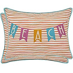 Helena Springfield - Blue polyester and cotton 'Oasis Oceanic' breakfast cushion