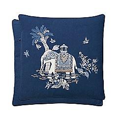 Fable - Dark blue cotton and linen 'Sumatra' cushion