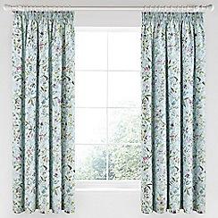 V & A - Aqua cotton sateen 'Botanica' curtains