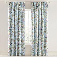V & A - Aqua cotton sateen 'Chinese Bluebird' curtains
