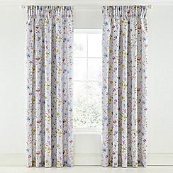 V & A - Light grey cotton sateen 'Fleuri' curtains