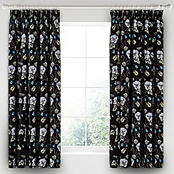 V & A - Black cotton sateen 'Gardenia' curtains