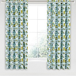 Helena Springfield - Blue cotton half panama 'Hometown Parade' curtains