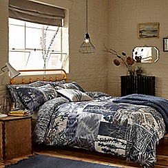 Clarissa Hulse - Dark blue cotton sateen 200 thread count 'Indigo Patchwork' duvet cover
