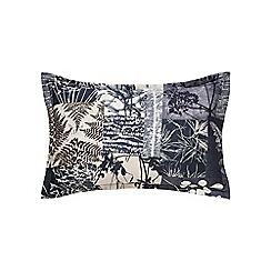 Clarissa Hulse - Dark blue cotton sateen 200 thread count 'Indigo Patchwork' oxford pillow case