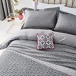 Helena Springfield - Dark grey viscose and polyester 'Josey' duvet cover