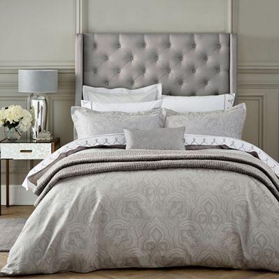 fable light grey cotton 350 thread count jacquard 39 kendari 39 duvet cover debenhams. Black Bedroom Furniture Sets. Home Design Ideas