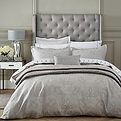 Fable - Light grey cotton 350 thread count jacquard 'Kendari' duvet cover