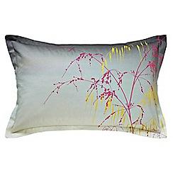 Clarissa Hulse - Grey cotton sateen 200 thread count 'Meadowgrass' Oxford pillow case