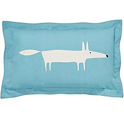 Scion - Light blue cotton percale 180 thread count 'Mr Fox' Oxford pillow case