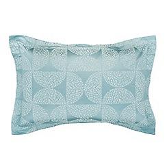 Helena Springfield - Aqua cotton and polyester 'Posy' Oxford pillow case