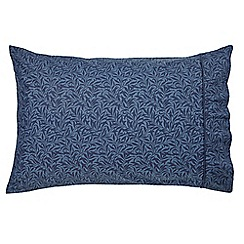 Morris & Co - Dark blue 300 thread count blue patterned 'Strawberry Thief' pillow case